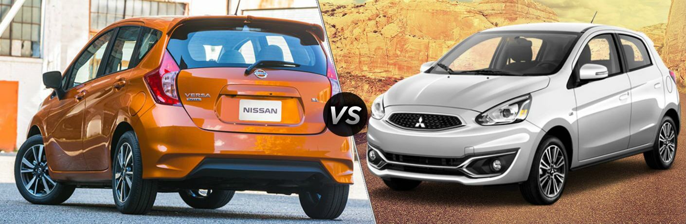 Orange 2018 Nissan Versa Note and silver 2018 Mitsubishi Mirage side by side