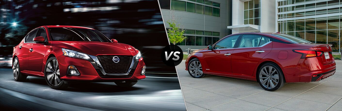 Front driver angle of a red 2019 Nissan Altima driving on the left VS driver side angle of a red 2019 Nissan Altima Edition ONE on the right