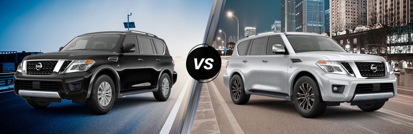2019 Nissan Armada SV exterior front fascia and drivers side vs 2019 Nissan Armada Platinum exterior front fascia and passenger side in city at night