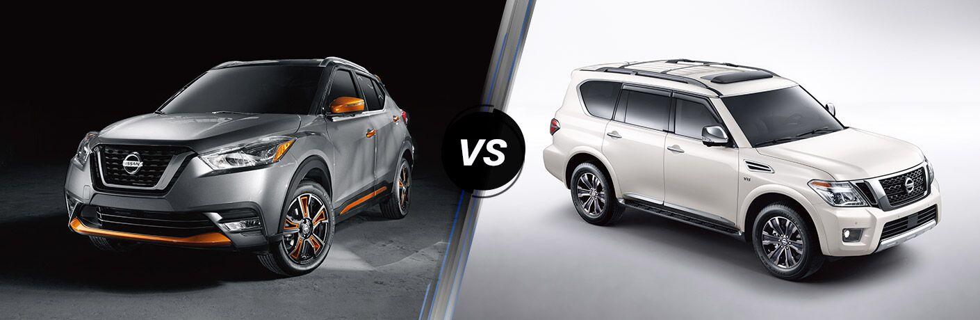 2019 Nissan Kicks next to a 2019 Nissan Armada