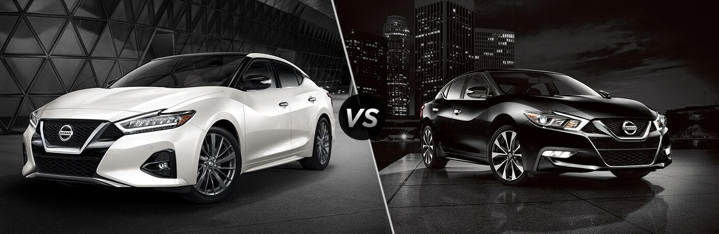 2019 Nissan Maxima exterior front fascia and drivers side vs 2018 Nissan Maxima exterior front fascia and passenger side in front of city at night