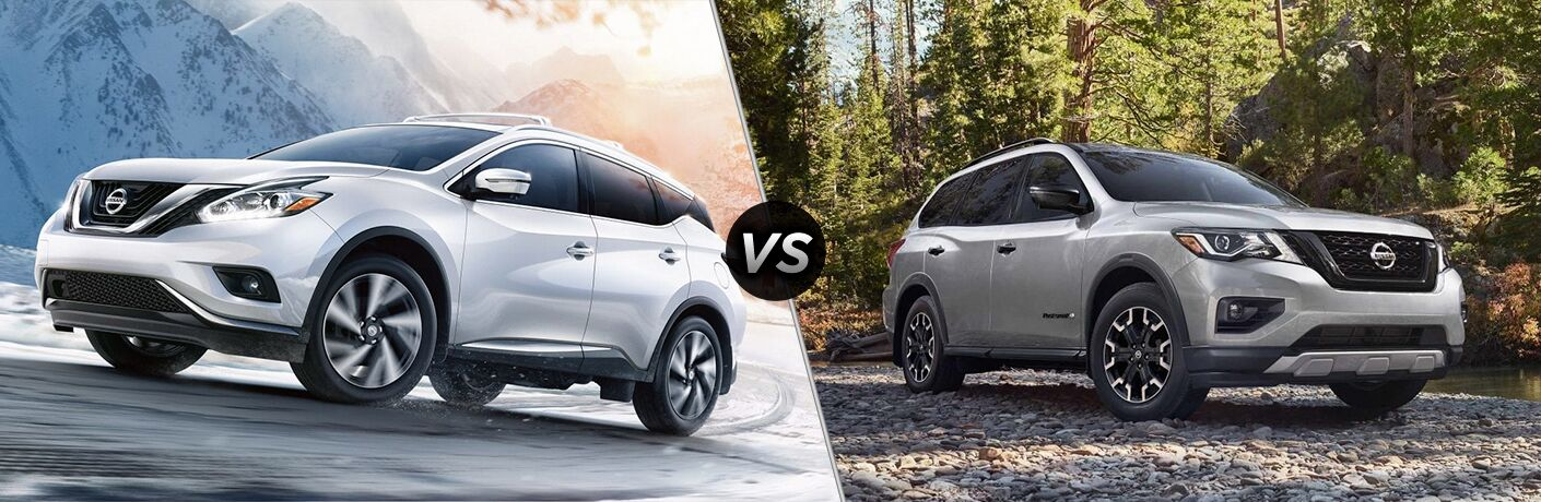 2019 Nissan Murano exterior front fascia and drivers side outdoors vs 2019 Nissan Pathfinder exterior front fascia and passenger side in woods