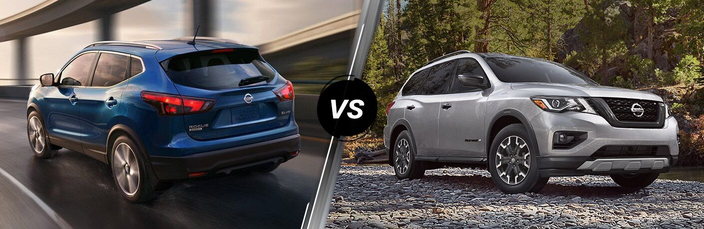 2019 Nissan Rogue Sport next to a 2019 Nissan Pathfinder