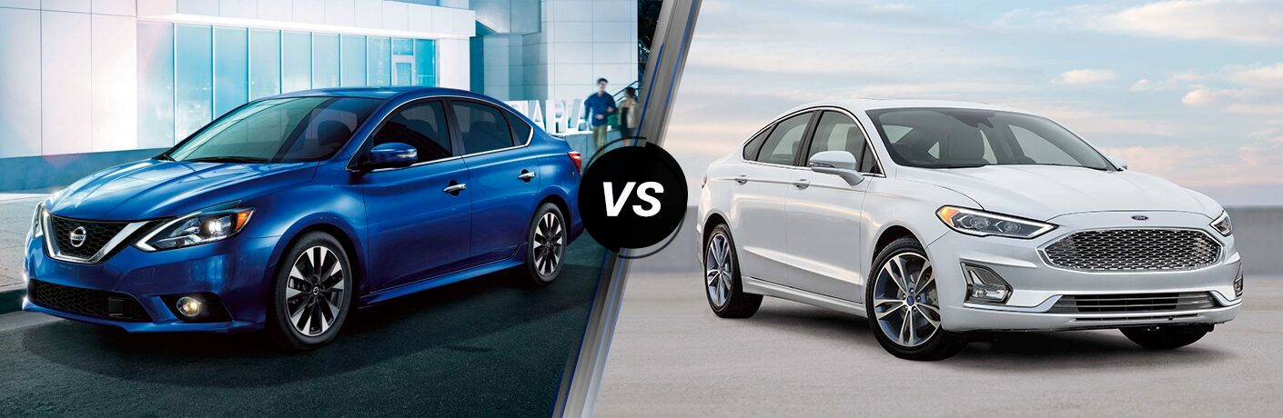 Front driver angle of a blue 2019 Nissan Sentra on the left VS a front passenger angle of a white 2019 Ford Fusion on the right