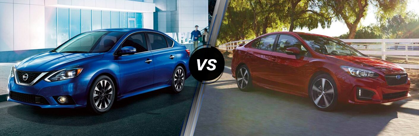 Front driver angle of a blue 2019 Nissan Sentra on the left VS a front passenger angle of a red 2019 Subaru Impreza on the right