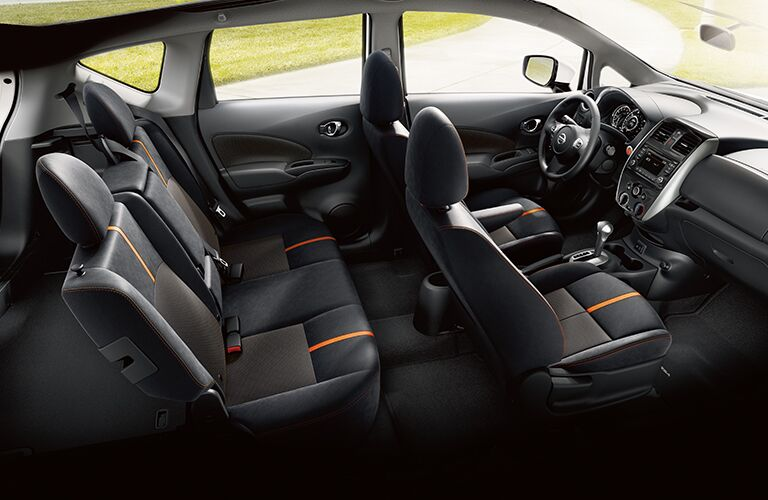 aerial side view of interior seats of 2019 nissan versa note