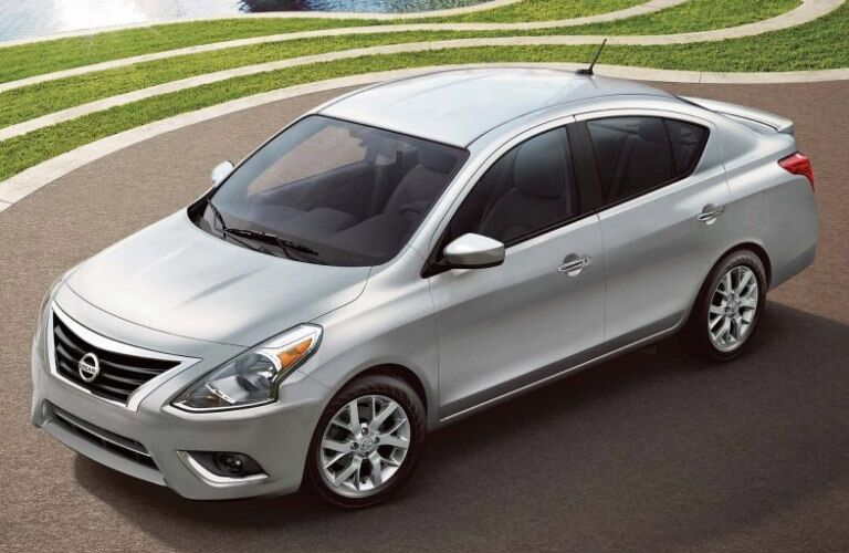 2019 Nissan Versa parked by the water
