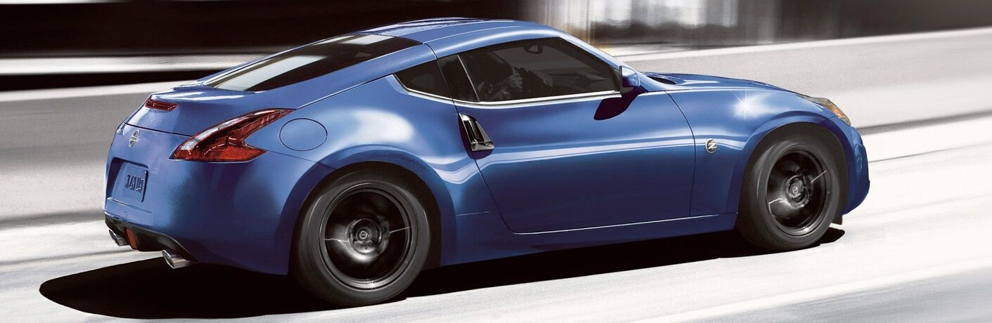Side view of a blue 2019 Nissan 370Z