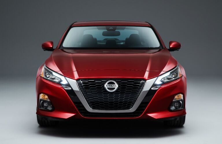 Front view of a red 2019 Nissan Altima
