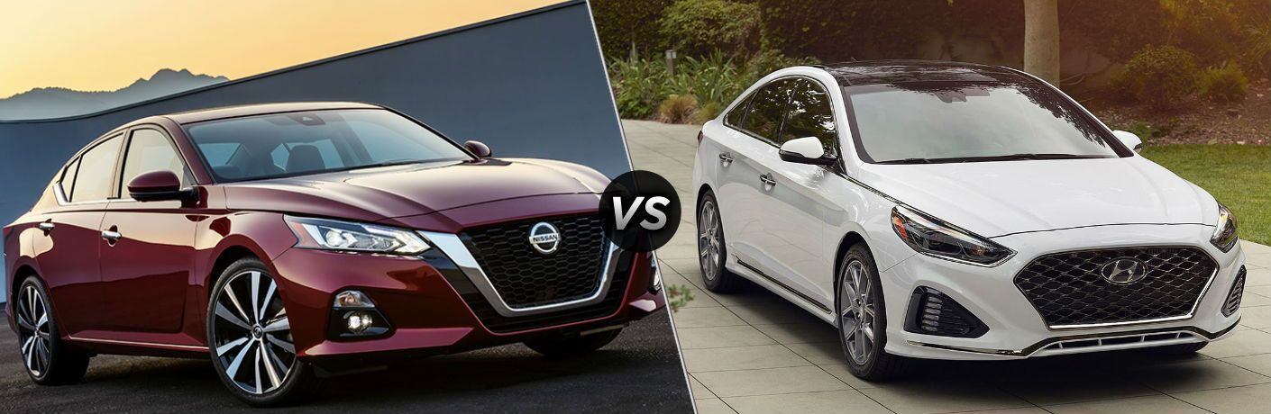 Red 2019 Nissan Altima and white 2019 Hyundai Sonata side by side