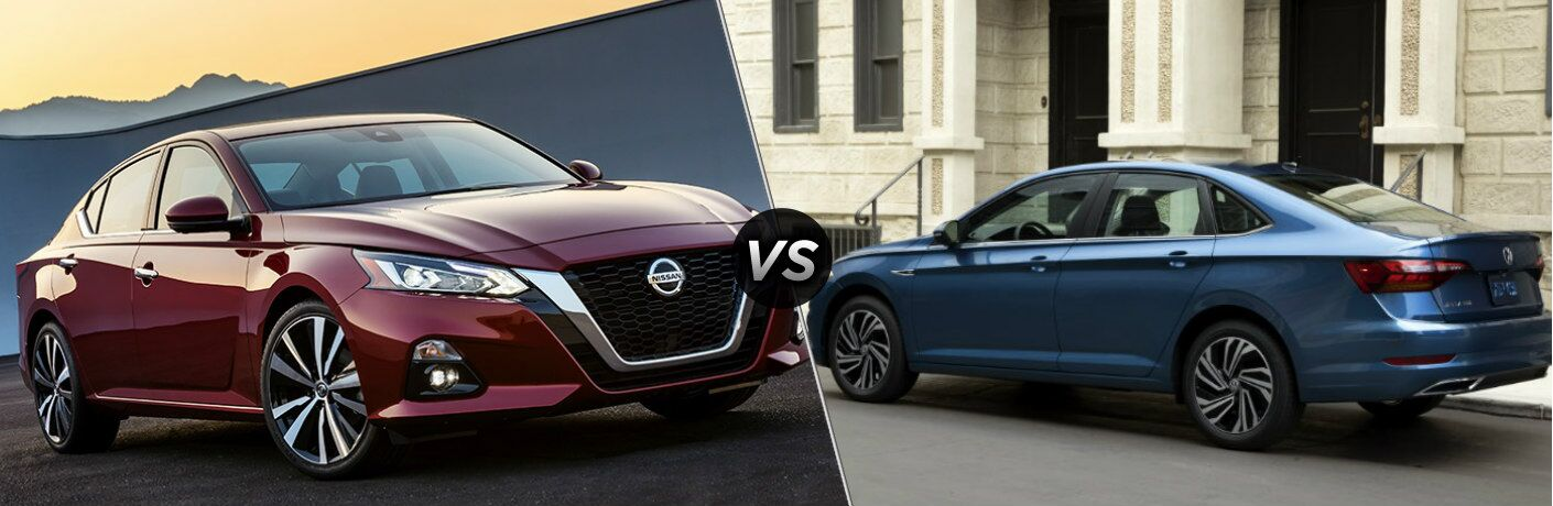 Maroon 2019 Nissan Altima and blue 2019 Volkswagen Jetta side by side