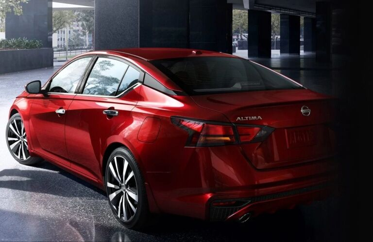 Rear view of a red 2019 Nissan Altima