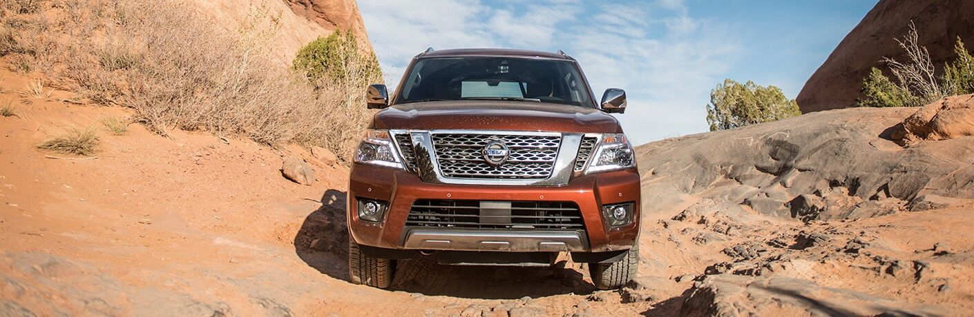 Front view of 2019 Nissan Armada driving off-road