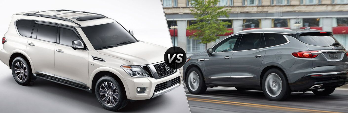 White 2019 Nissan Armada and gray 2019 Buick Enclave side by side
