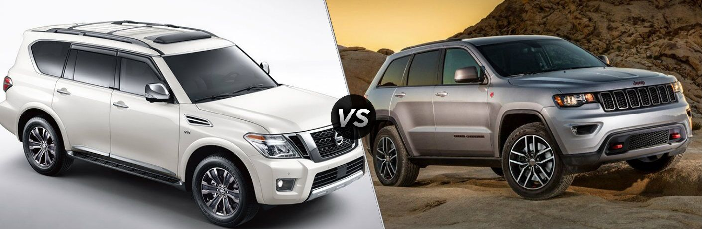 White 2019 Nissan Armada and silver 2019 Jeep Grand Cherokee side by side