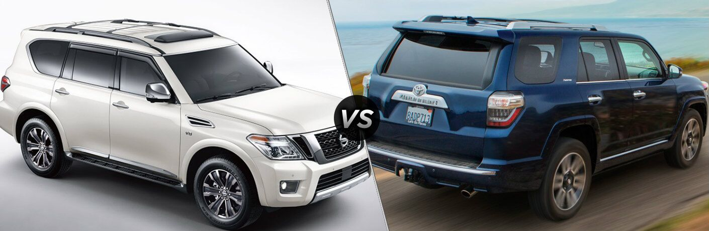 White 2019 Nissan Armada and blue 2019 Toyota 4Runner side by side