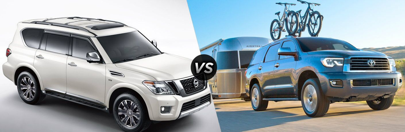 White 2019 Nissan Armada and gray 2019 Toyota Sequoia side by side