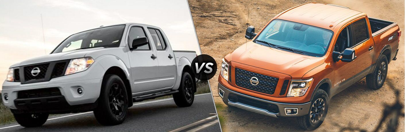 White 2019 Nissan Frontier and orange 2019 Nissan TITAN side by side