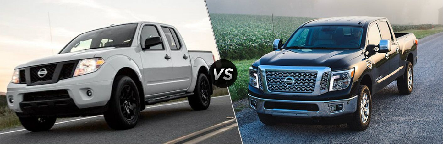 White 2019 Nissan Frontier and black 2019 Nissan TITAN XD side by side