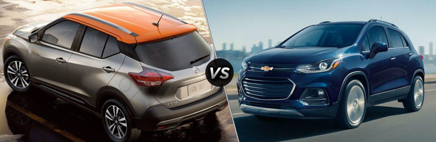 Silver and orange 2019 Nissan Kicks and blue 2019 Chevy Trax side by side