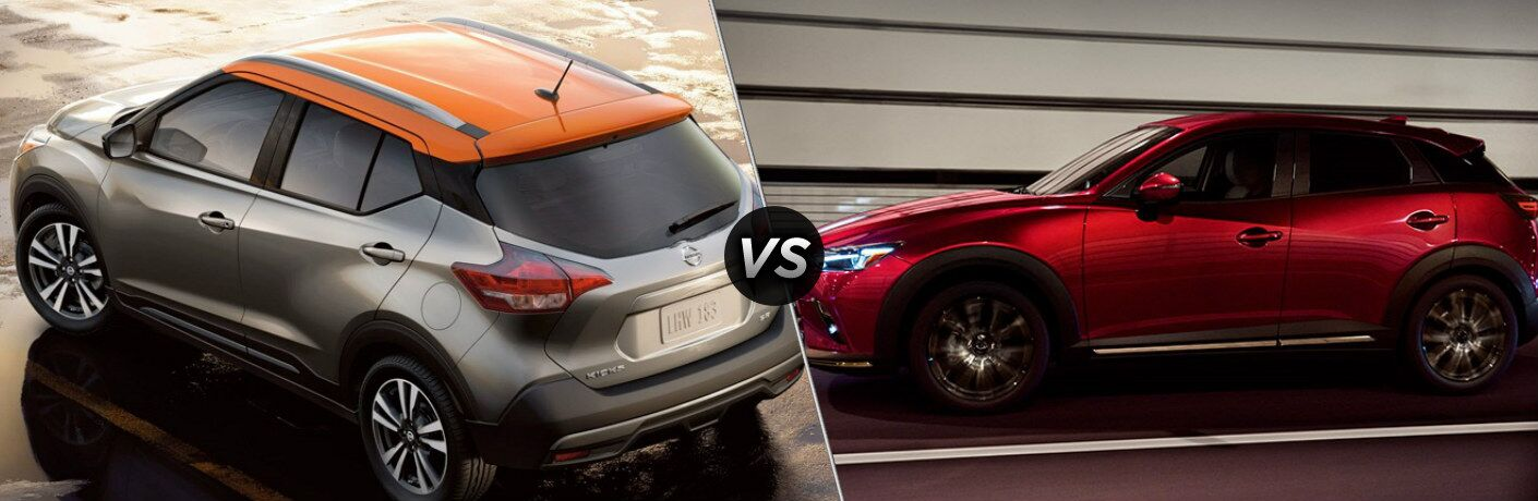 2019 Nissan Kicks and 2019 Mazda CX-3 side by side