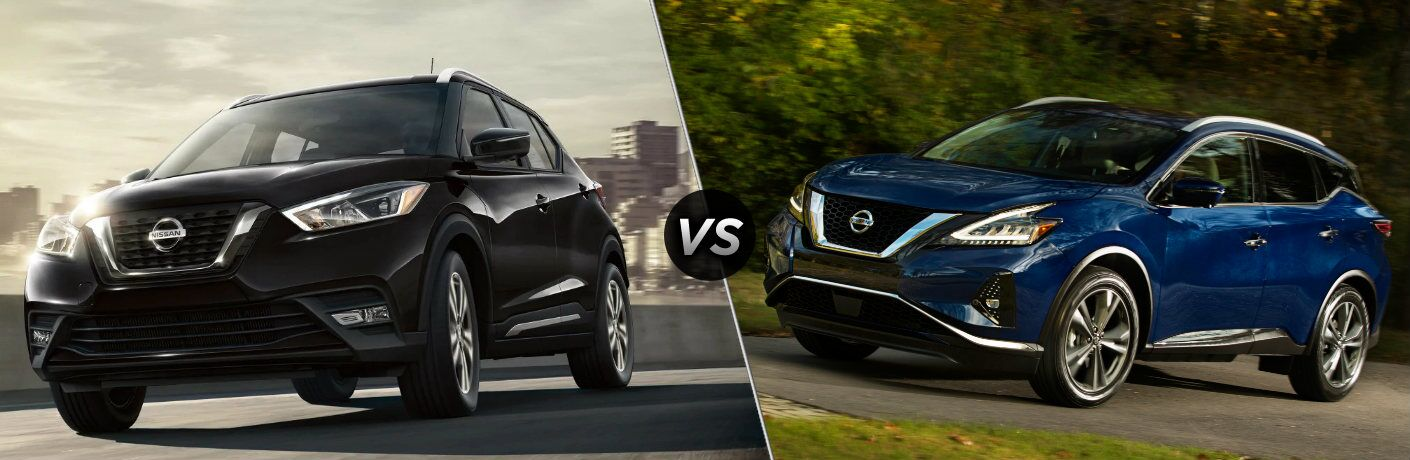 Black 2019 Nissan Kicks and blue 2019 Nissan Murano side by side