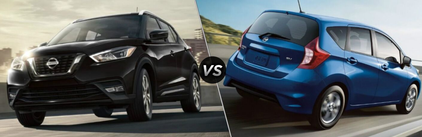 Black 2019 Nissan Kicks and blue 2019 Nissan Versa Note side by side