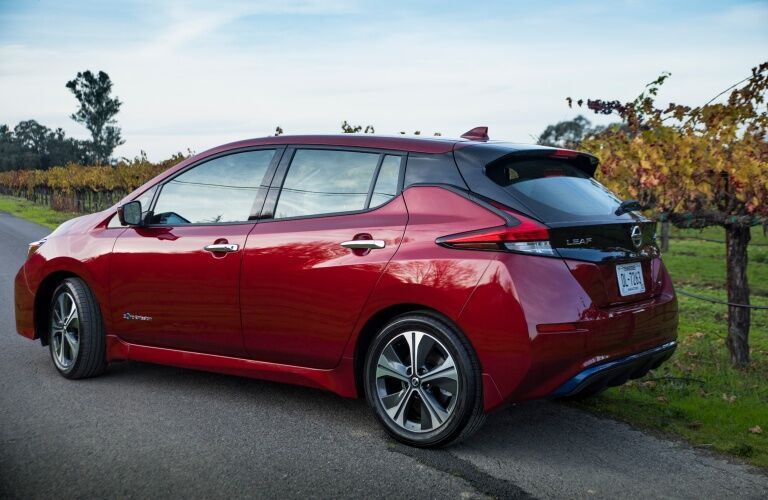 2019 Nissan LEAF parked on country road