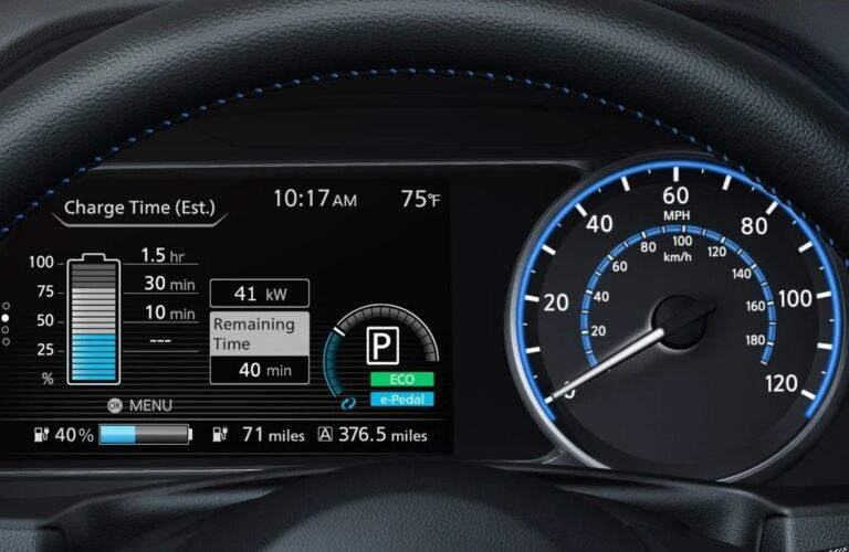 Instrument cluster in the 2019 Nissan LEAF