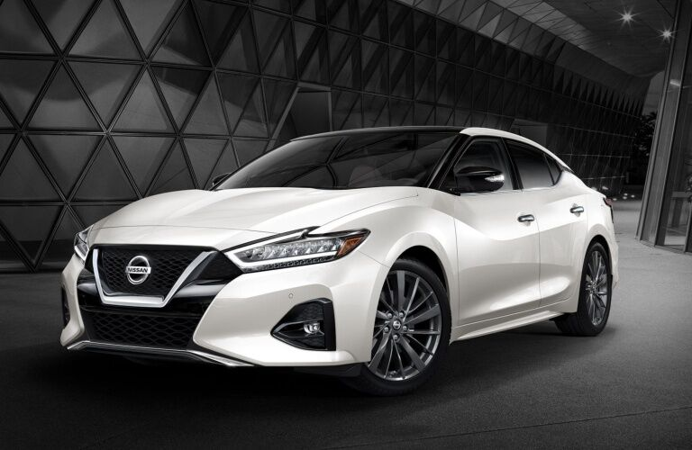 White 2019 Nissan Maxima on a black background