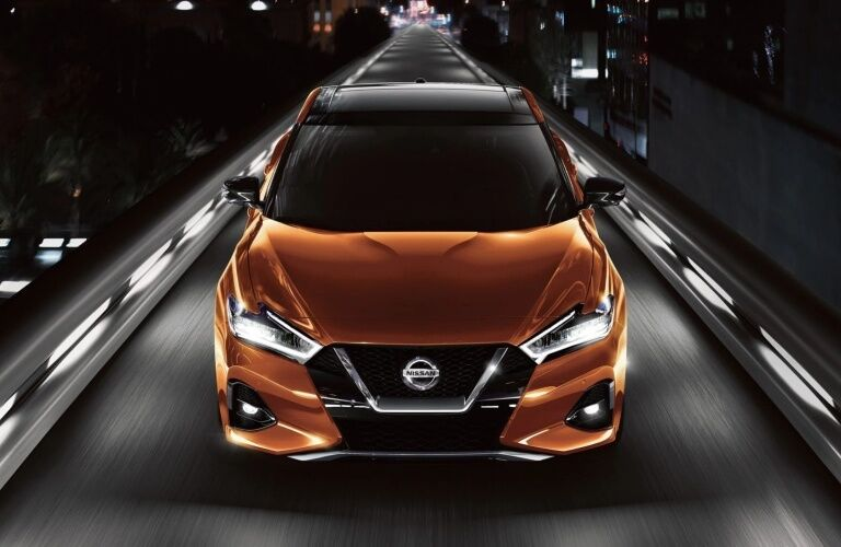 Front view of an orange 2019 Nissan Maxima