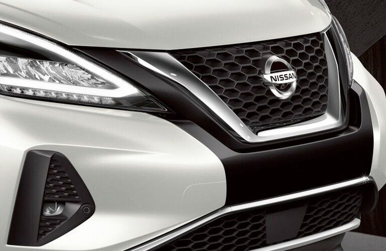 Front grille of a white 2019 Nissan Murano