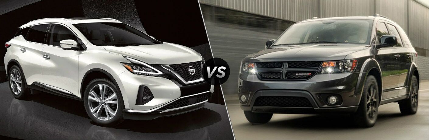 White 2019 Nissan Murano and 2019 Dodge Journey side by side
