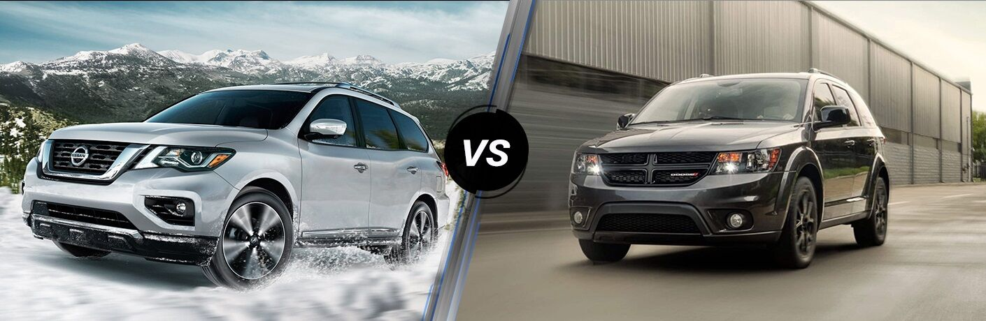 Silver 2019 Nissan Pathfinder and gray 2019 Dodge Journey side by side