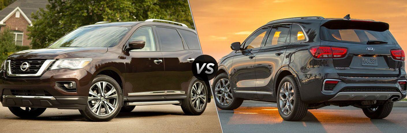 2019 Nissan Pathfinder and 2019 Kia Sorento side by side