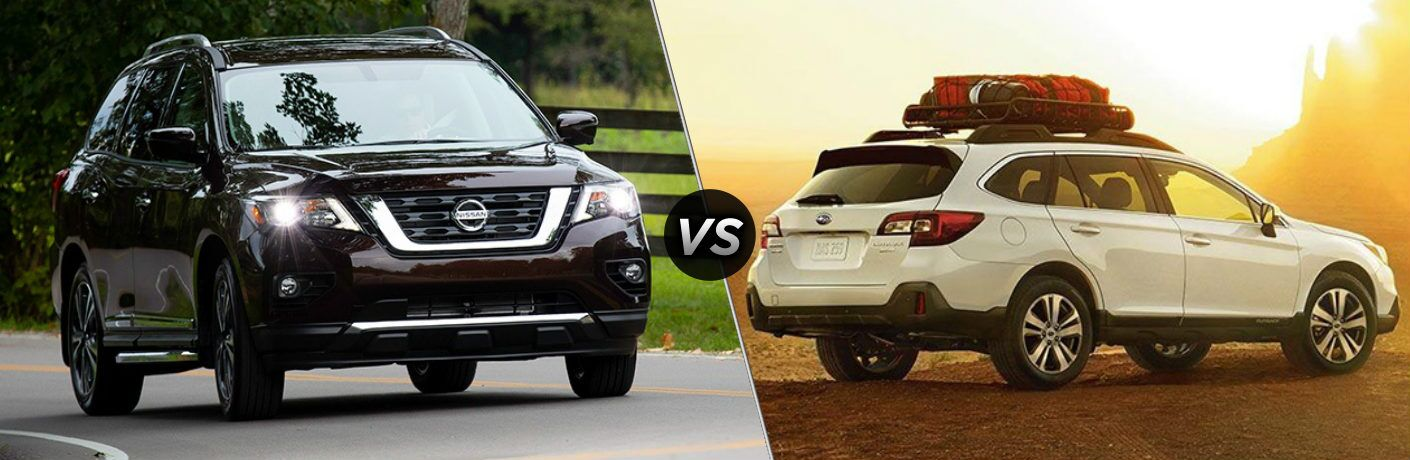 Black 2019 Nissan Pathfinder and white 2019 Subaru Outback side by side