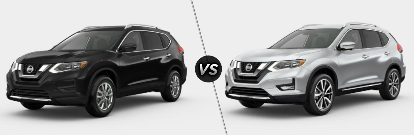 Black 2019 Nissan Rogue SV and silver 2019 2019 Nissan Rogue SL side by side