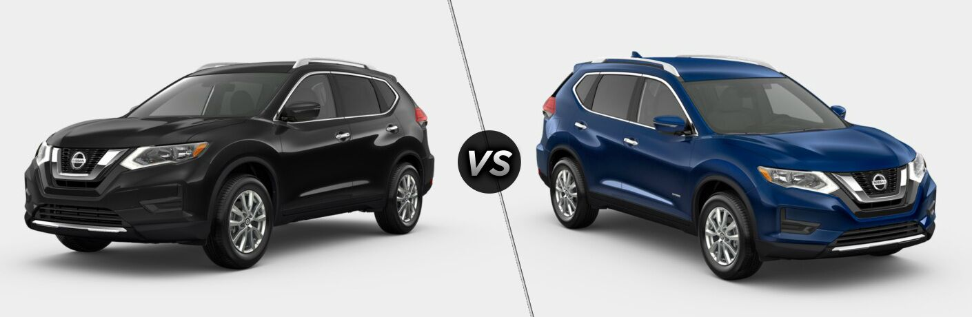 Black 2019 Nissan Rogue SV and blue 2019 Nissan Rogue SV Hybrid side by side