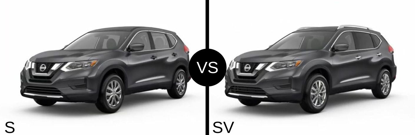 Gray 2019 Nissan Rogue S and SV models side by side