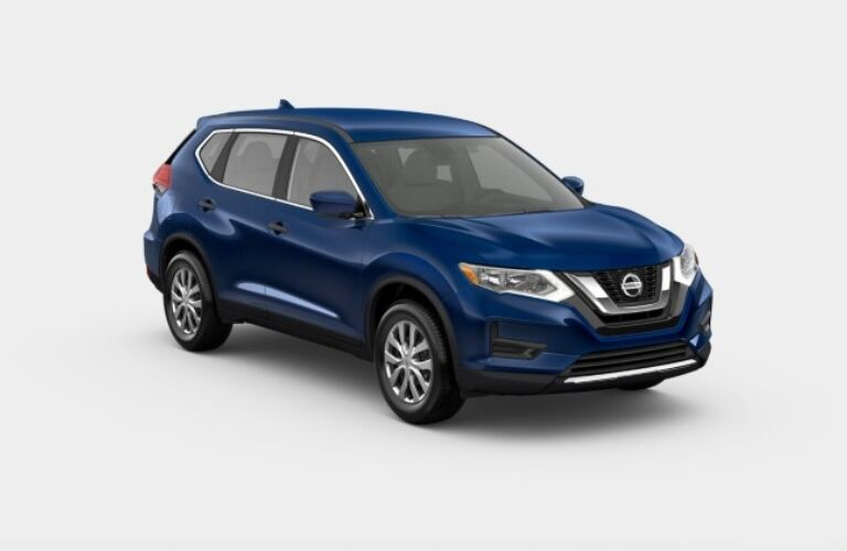 Blue 2019 Nissan Rogue S on a gray background