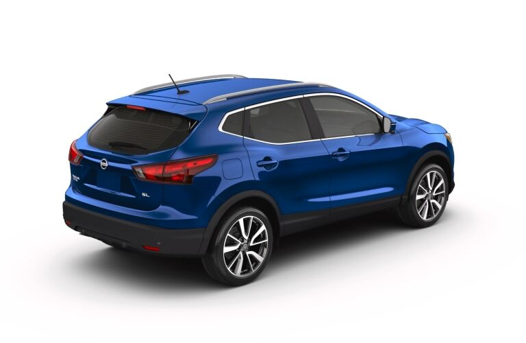 Blue 2019 Nissan Rogue Sport on a white background