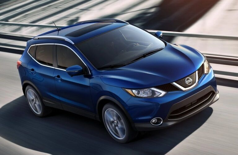 Front overhead view of a blue 2019 Nissan Rogue Sport