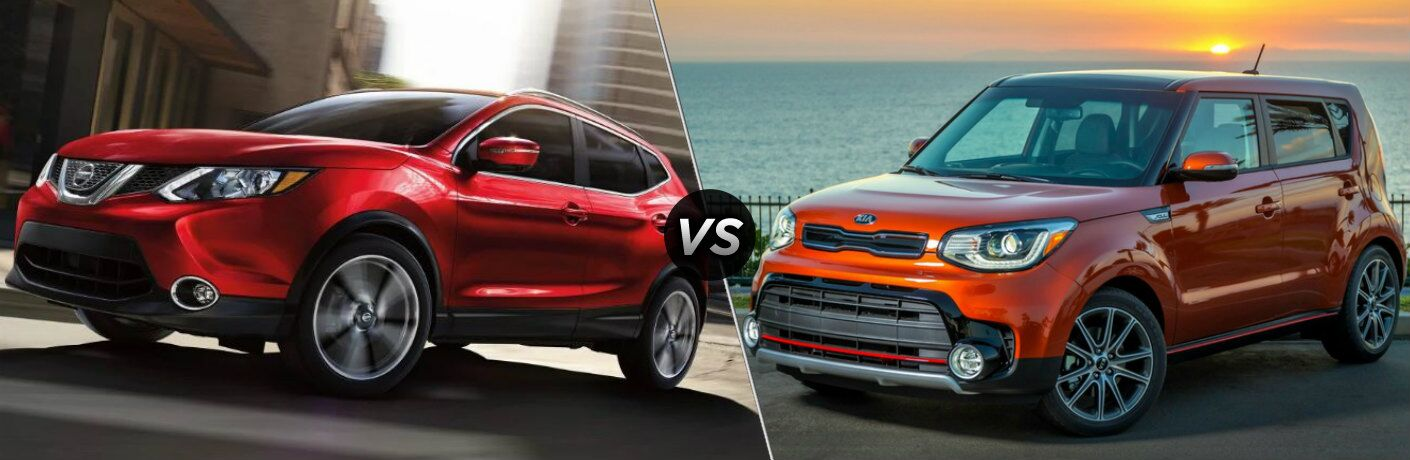 Red 2019 Nissan Rogue Sport and orange 2019 Kia Soul side by side
