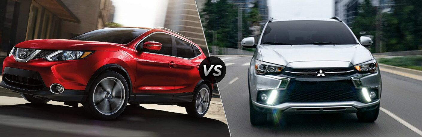 Red 2019 Nissan Rogue Sport and silver 2019 Mitsubishi Outlander Sport side by side