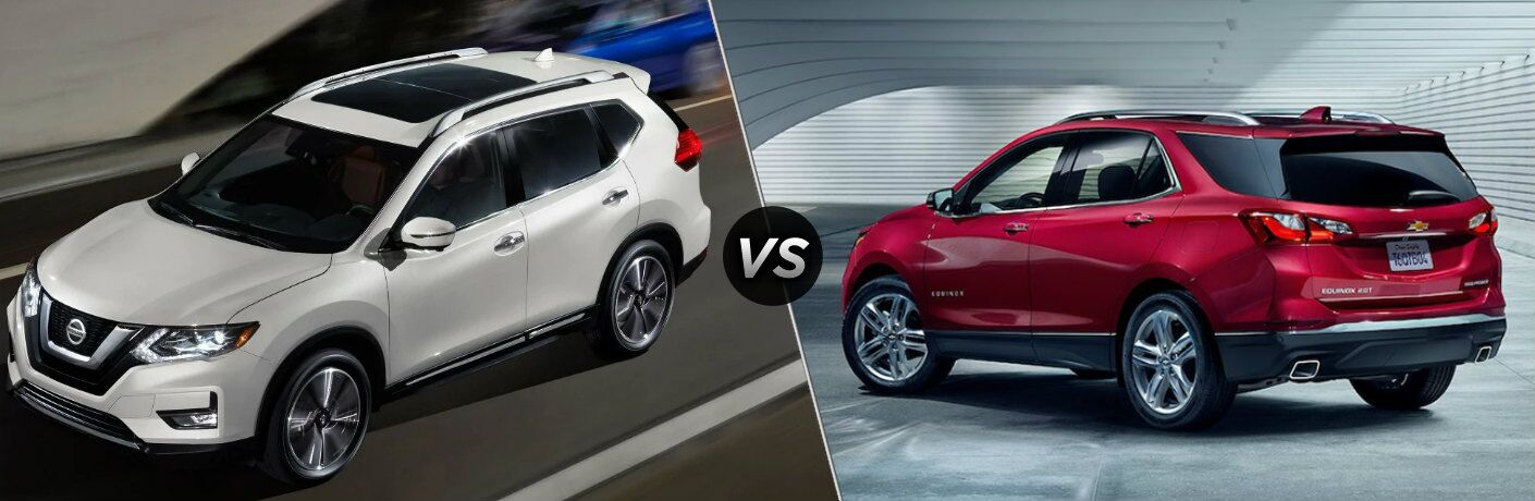 White 2019 Nissan Rogue and red 2019 Chevy Equinox side by side