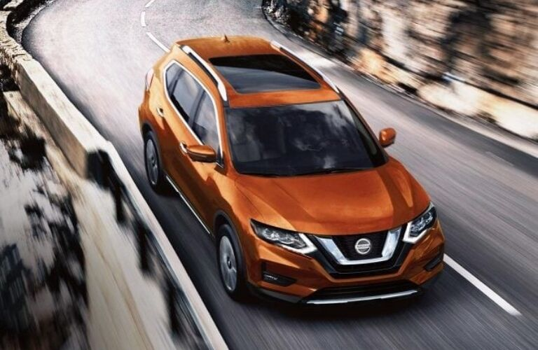 Overhead view of an orange 2019 Nissan Rogue