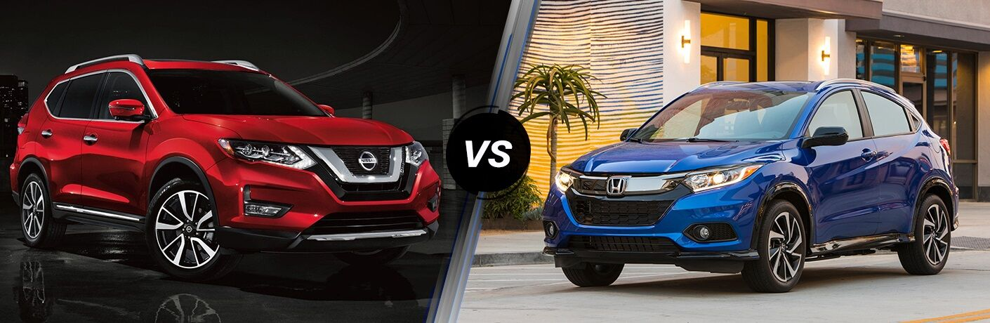 Red 2019 Nissan Rogue and blue 2019 Honda HR-V side by side