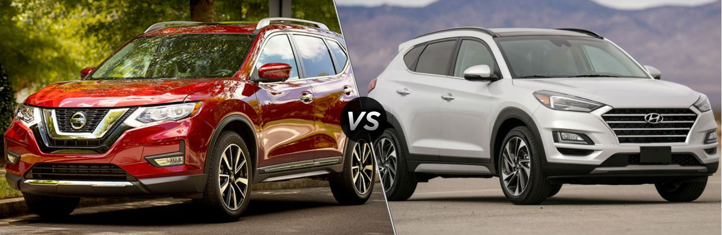 Red 2019 Nissan Rogue and white 2019 Hyundai Tucson side by side