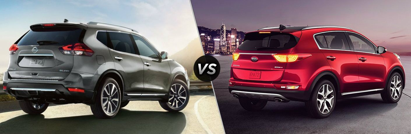 Gray 2019 Nissan Rogue and red 2019 Kia Sportage side by side