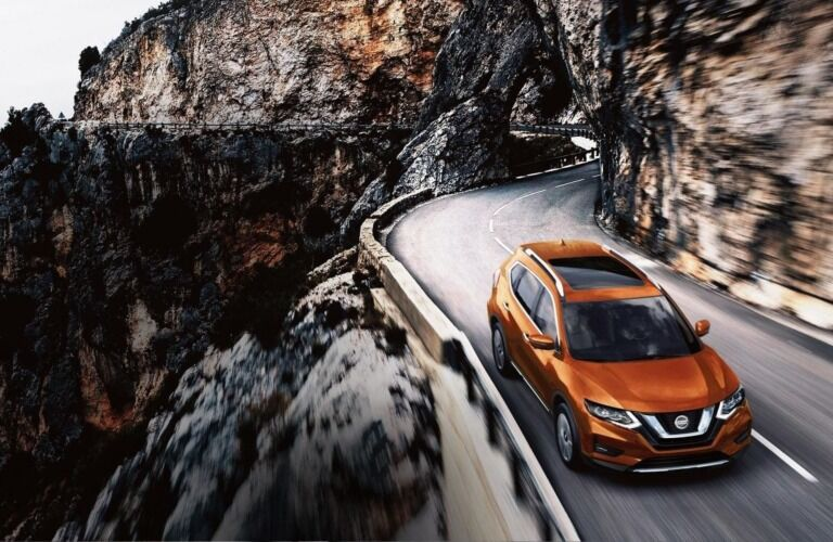 Overhead view of orange 2019 Nissan Rogue